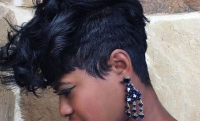 Popular short stacked afro haircut black women