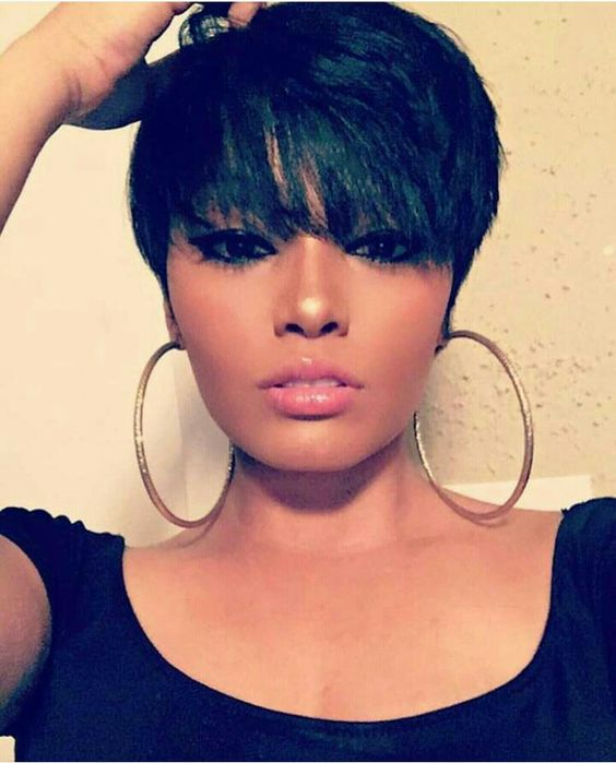 Short pixie full bangs haircut black girls