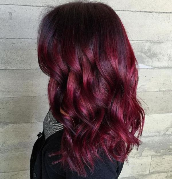brunette balayage with red