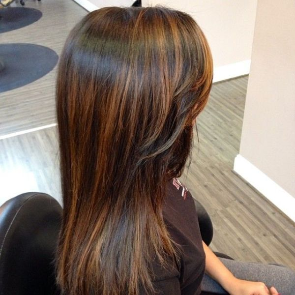 Balayage long straight dark hair