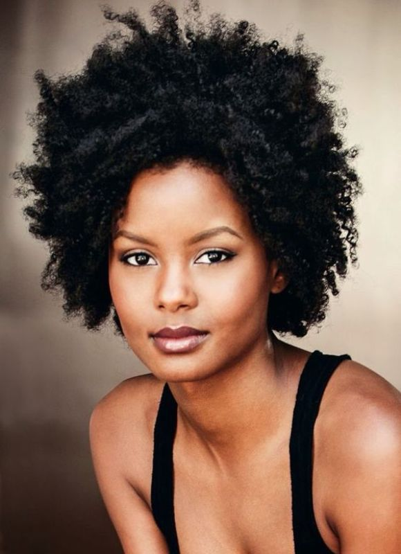 Curly Afro Short Hair for Round Faces