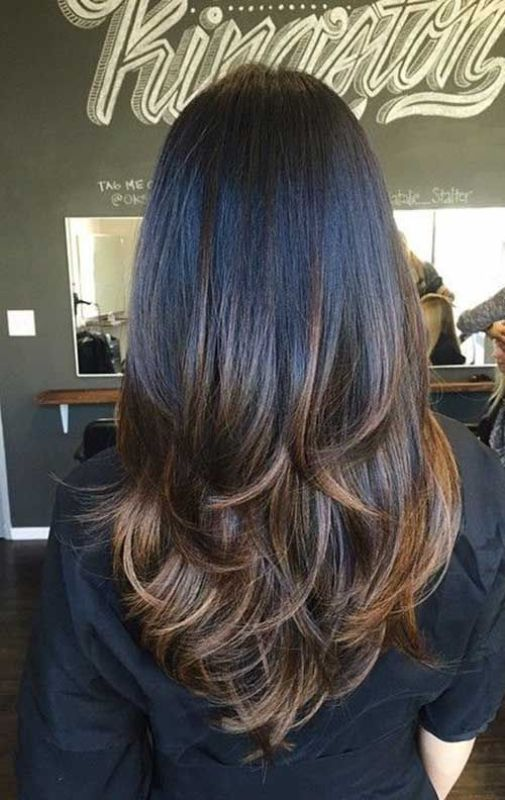 Long Straight Thick Dark Chocolate-Brown Hair with Layers