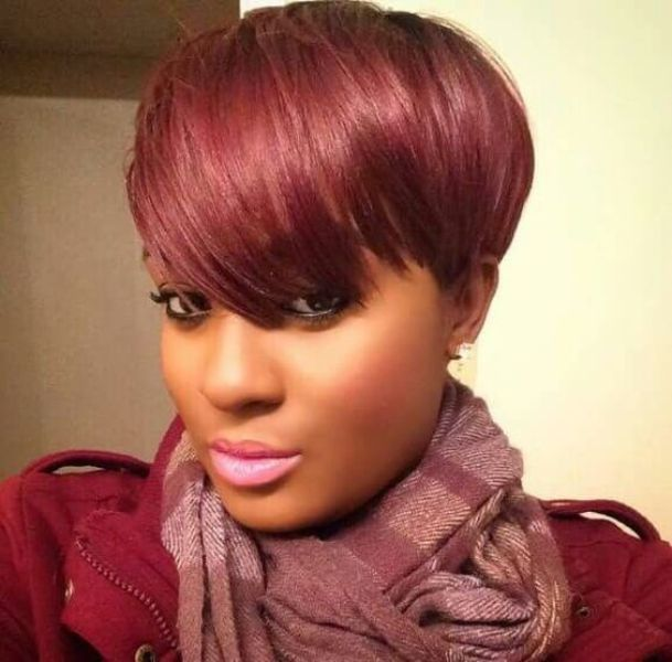 Red Super Short Bob With Side Swept Bang for Black Women With Round Faces