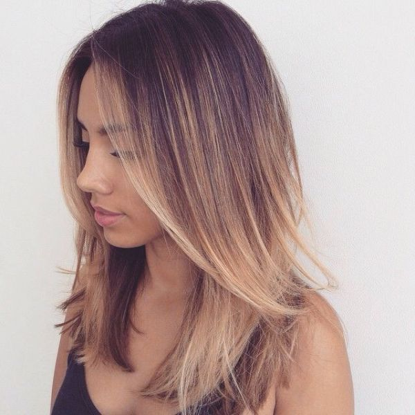 Simple Balayage Straight Bob Hairstyle