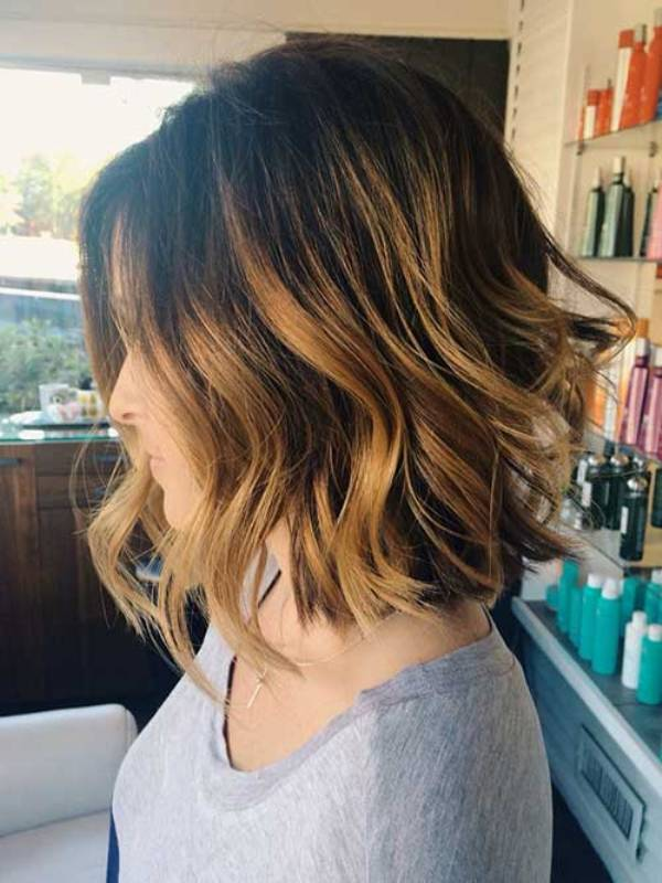 Balayage Bob Haircut on Dark Hair