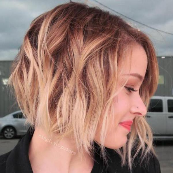 Brown and Strawberry Blonde Balayage Short Haircut