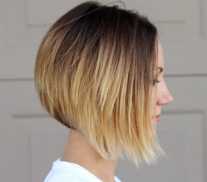 Chic asymmetrical Balayage ombre bob hairstyle