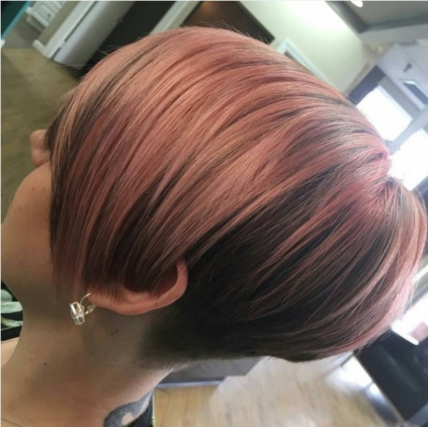 Pink Balayage Smooth Short Bob Hairstyle