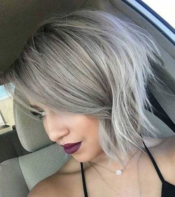 Short grey balayage hair