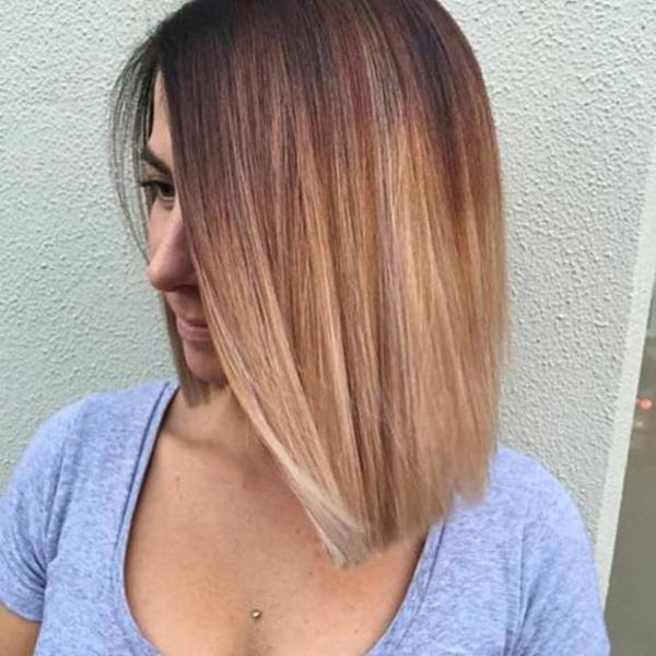 Sunset Balayage Straight Bob Haircut